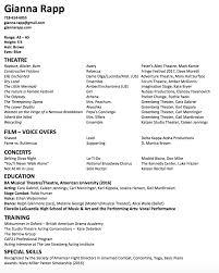 Ballet Resume Headshot Resume U2014 Gianna Rapp