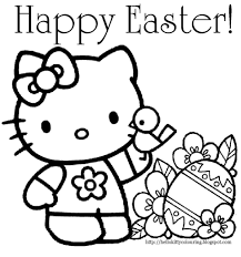 hello kitty easter coloring page throughout easter coloring sheets