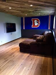 home theater denver bonus room man cave denver broncos pallet ceiling metal wall