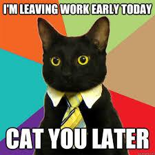 Leaving Work Meme - i m leaving work early today cat meme cat planet cat planet