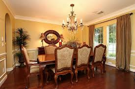 formal dining room ideas reddish brown wooden floor with beige curtain and yellow wall
