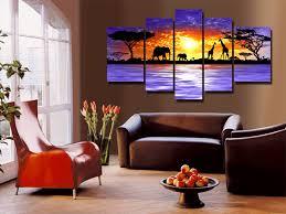hand painted oil wall art giraffe savanna elephants decoration