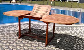 Wood Patio Dining Set - vifah v144set1 wood 7 piece patio dining set with oval extension