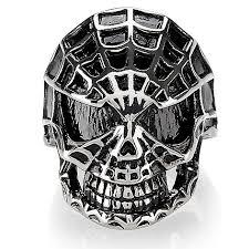 steel impact s stainless steel spiderweb skull ring