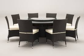 windsor 1 7 metre round brown rattan dining table and 8 dining
