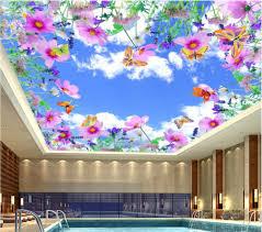 custom photo 3d ceiling murals wallpaper home decor sky flowers