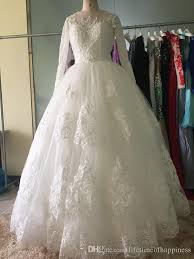 cheap real designer luxury long sleeves wedding dresses lace ball