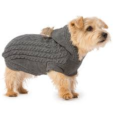 Hooded Dog Bed Cosy Cable Knit Hooded Dog Jumper With Pom Pom