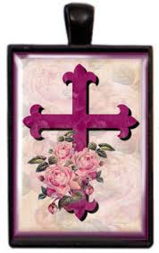 glass dome jewelry floral cross by ravensdaughter designs