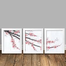 cherry home decor cherry blossom art panel art cherry blossom painting pink