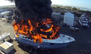 peugeot fire boat fail 24m superyacht fire caught on drone camera motor