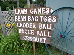 lawn game sign rustic wedding sign game signs corn hole