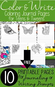 free color u0026 write coloring journal pages for teens u0026 tweens