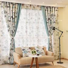 Blue And Yellow Curtains Prints Blue Fish And Botanical Print Polyester Insulated Color Block