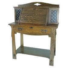 b411 antique solid tiger oak mission arts and crafts drop front desk for