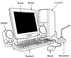 this is a picture of a computer system with the parts labeled