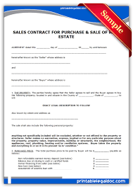 printable sample contract to sell on land contract form land