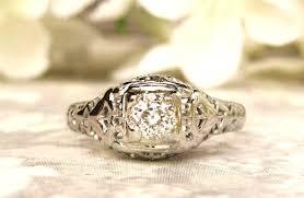 antique engagement ring 0 42ct old mine cut diamond edwardian art