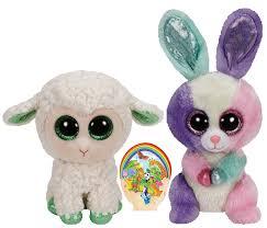 amazon ty beanie boos green lamb lala colorful bunny