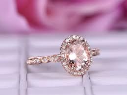 Art Deco Wedding Rings by 6x8mm Big Morganite Engagement Ring Diamond In 14k Rose Gold Halo
