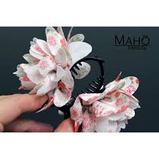 japanese hair ornaments japanese kimono pattern flower hair clip white
