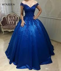 royal blue wedding gown shoulder royal blue wedding dress sequins appliques