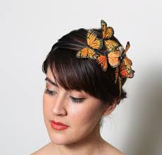 butterfly hair orange monarch butterfly headband fall bright woodland