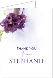 purple lilies bridal shower thank you cards storkie
