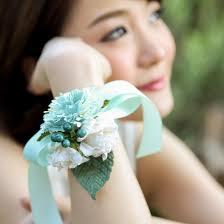 bridesmaid corsage green mint handmade paper flower bracelet posie flowers