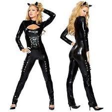 Halloween Costumes Catwoman Black Catsuit Jumpsuit Bodysuit Party Clubwear Fancy Costume