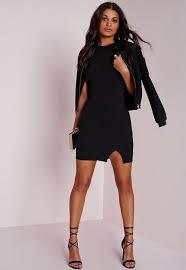 petite square neck side split mini dress black missguided