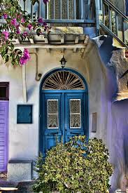 the blue door santorini tom prendergast canvas