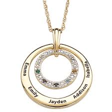 birthstone gift gold plated diamond and birthstone necklace with names