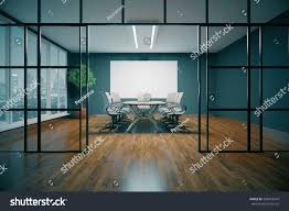 modern conference room night city view stock illustration