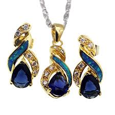 sapphire necklace earrings images Hermosa jewelry sets australian opal blue sapphire necklace jpg