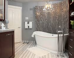 black and white small tile backsplash with decorative mirror for