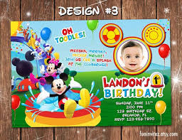 mickey mouse clubhouse swim birthday party photo invitations