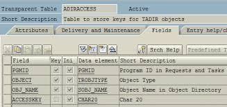 sap t code description table sap developer keys and object keys in abap tables