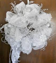 white deco mesh christmas winter deco mesh wreath silver and white