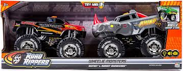 bigfoot monster truck driver amazon com road rippers bigfoot u0026 rhino wheelie motorized