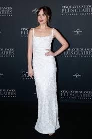 the wedding dress dakota johnson s white dress at fifty shades freed premiere