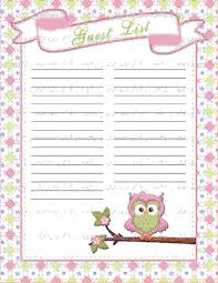 4 baby shower guest list template procedure template sample