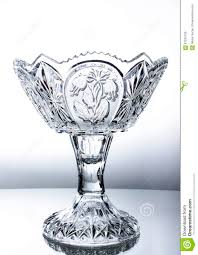 Vase Stands A Big Crystal Vase Stands On The Glass Table Stock Photo Image
