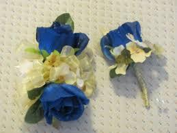 Royal Blue Boutonniere Royal Blue Open Silk Double Rose W Yellow Hydrangea Boutonniere