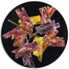 Modern 30cm Round Designer Abstract Wall Clock On Black