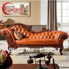 high grade european style royal genuine leather sofa chaise