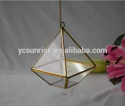 2017 sell wholesale geometric pyramid glass hanging copper
