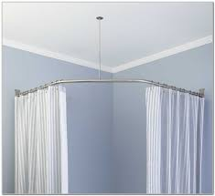 bay window ceiling mount curtain rods amys office