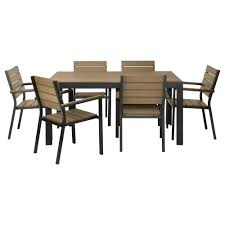 Ikea Outdoor Table by Falster Table 6 Armchairs Outdoor Black Brown Ikea
