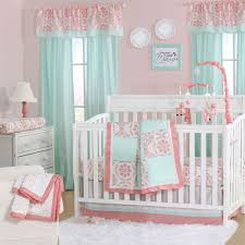 Baby Crib Bed Sets Mint Green And Coral Patchwork 3 Baby Crib Bedding Set By